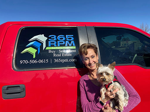 Susie Hall, 365 RPM owner and dog
